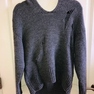 Sweaters - Grey hooded sweater